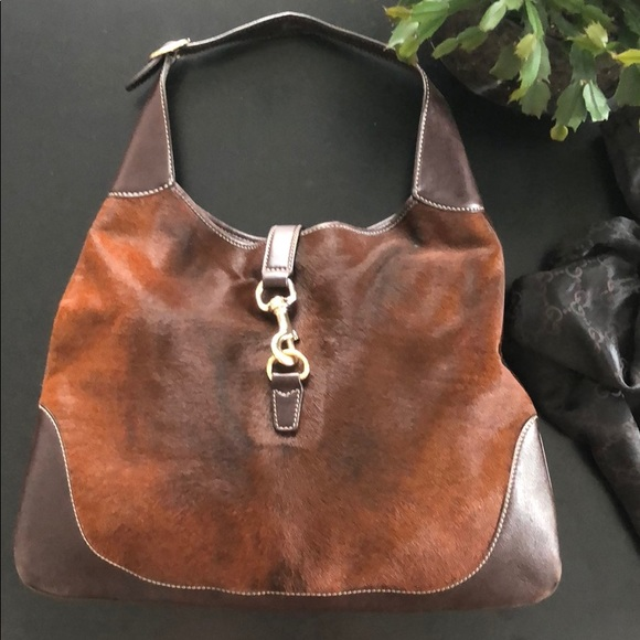 8193a0bd0e7 Gucci Handbags - GUCCI Jackie O brown calf hair hobo